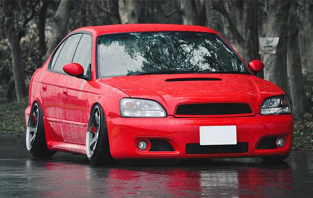 Slammed Japanese Subaru Legacy B4 on Volk TE37SL